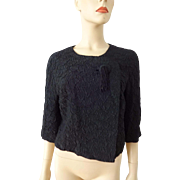 Vintage 1950s Black Bolero Crepe Jacket Tassel Murray Schneider Dress Company San Francisco