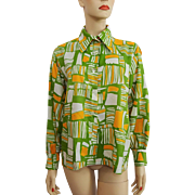Psychedelic Print Vintage 1970s Womens Shirt Blouse Pointed Collar