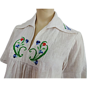 Bohemian Peasant Blouse Vintage 1970s Hippie Embroidery Butterfly Flower Cotton Gauze
