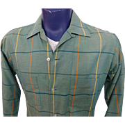 Mens Vintage 1950s Arrow King Cotton Plaid Button Front Shirt