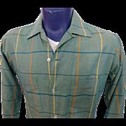 Mens Vintage 1950s Arrow King Cotton Plaid Button Front Shirt