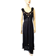Black Nylon Negligee Nightgown Vintage 1960s Maxi Daisy Applique
