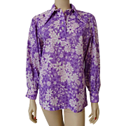 Lavender Daisy Tunic Blouse Vintage 1970s Hippie Pointed Collar Glenbrooke