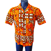 Vintage 1960s Ui Maikai Mens Orange Hawaiian Cotton Shirt