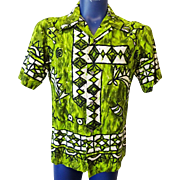 Mens Hawaiian Shirt Vintage 1960s Green Cotton Ui Maikai
