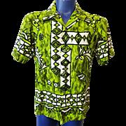 Mens Hawaiian Shirt Vintage 1960s Green Cotton Ui Maikai