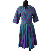 Vintage 1950s Womens Fit and Flare Dress Pleated Skirt Woven Teal Blue Purple Stripes