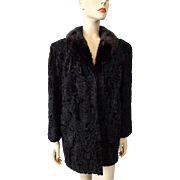 Vintage 1940s Black Curly Lamb Mink Fur Coat Larger Size