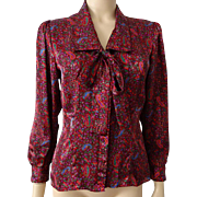 Vintage 1980s Bow Neck Blouse Womens Stuart Lang Red Floral Satin Petite
