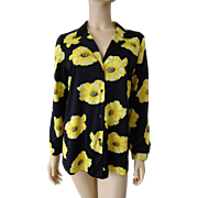 Vintage 1970s Blouse Shirt Womens Black Yellow Floral Flower Mr. Alex