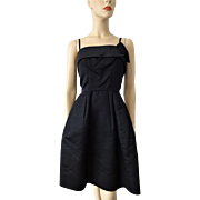 Black Cocktail Dress Vintage 1960s Silk Satin Party Prom LBD Mr. Mort
