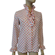 Polka Dot Poet Blouse Vintage 1970s Red White With Ship N Shore