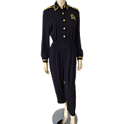 Vintage 1980s Jumpsuit Military Style Black Epaulet Epaulette Brass Buttons Belt