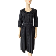 Black Coat Dress Vintage 1950s Fit and Flare Special Occasion Beaded Nelly Don Belt Evening Formal Cocktail Party