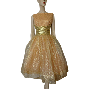 Vintage 1950s Prom Swing Dress Peach Gold Lame Lace Cummerbund Bow Tulle