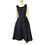 Suzy Perette Black Formal Dress Vintage 1950s Taffeta Beads Flower Applique