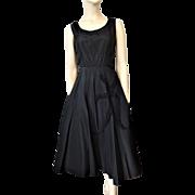 Suzy Perette Black Formal Dress Vintage 1950s Taffeta Beads Flower Applique