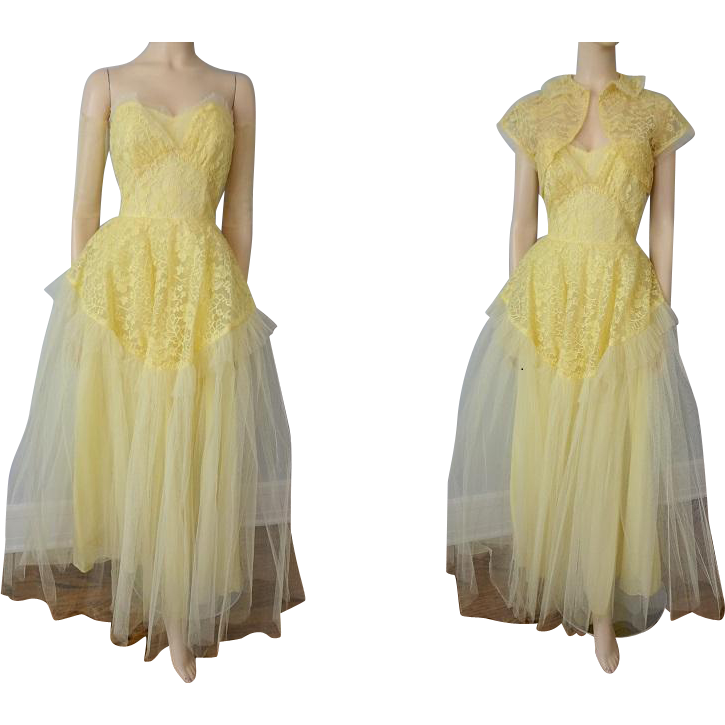 Vintage 1950s Strapless Formal Gown Dress Yellow Tulle
