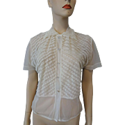 Sheer White Nylon Blouse Vintage 1950s Rhinestone Buttons Lace Trim Pinup