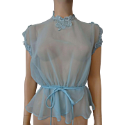 Sheer Nylon Blouse Powder Blue Vintage 1950s Peplum Lace Belt