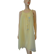 Baby Doll Negligee Nightgown Vintage 1960s Yellow Sheer Nylon Flower Applique