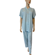 Vintage 1960s Pajamas Set Shirt Pants Powder Blue Nylon Lingerie