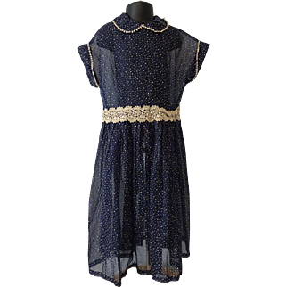 Girls Dotted Swiss Dress Vintage 1940s Sheer Nylon Ball Lace Navy Fit and Flare
