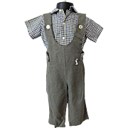 Boys Shirt Overalls Vintage 1950s Gingham Embroidered Dog Suit Set
