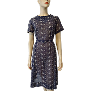Vintage 1950s Shift Dress Belt Sheer Nylon Navy Floral Lace