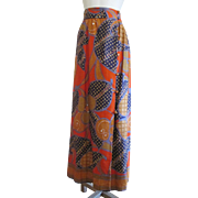 Hawaiian Maxi Skirt Vintage 1970s Psychedelic Print Kimos Polynesian Shop