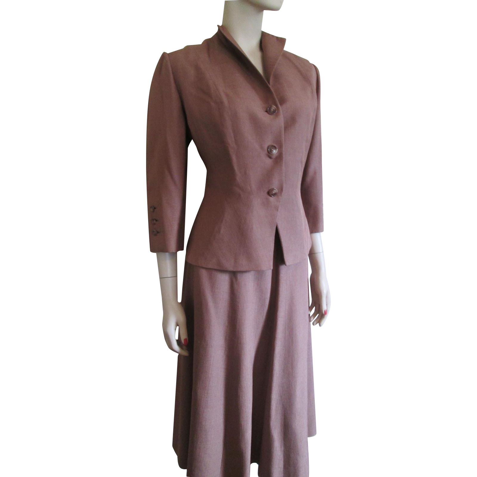 vintage 1940s dress suit womens cocoa brown tailored