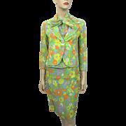 HOLD For Barbara: Floral Linen Suit Blouse Skirt Jacket Vintage 1960s Womens Spring Flowers