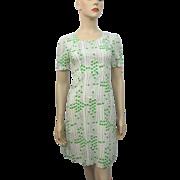 Polka Dot Cotton Wiggle Dress Vintage 1950s Green White