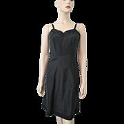 Black Rayon Full Slip Vintage 1940s Eyelet Lace