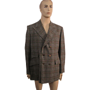 Mens Jacket Blazer Vintage 1960s Wool Plaid Double Breasted