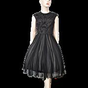 Pat Sandler Black Swing Dress Vintage 1960s Beaded Chiffon Evening Gown