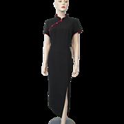 Vintage 1980s Cheongsam Dress Black Red Pinstripes NWT