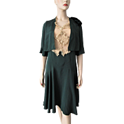 Green Crepe Dress Vintage 1930s Bias Cut Lace Bodice and Buttons
