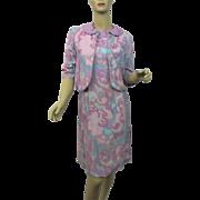 HOLD For Barbara: Mod Lavender Floral Suit Vintage 1960s Linen Wiggle Dress Bolero Jacket