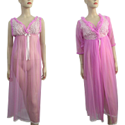Lavender Lingerie Peignoir Set Vintage 1960s Belle Smith Negligee Nightgown Robe Nylon Lace