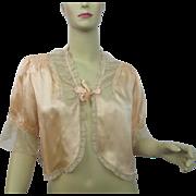 Silk Bed Jacket Vintage 1930s Peach Ecru Lace May Company Los Angeles