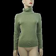 Green Turtleneck Sweater Vintage 1970s Sage Acrylic Wool