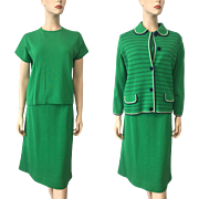 Womens Mod Three Piece Wool Suit Vintage 1960s Kelly Green Navy Jacket Sweater Skirt
