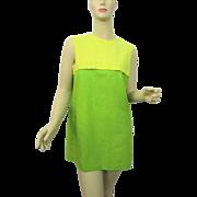 Mod Mini Dress Vintage 1960s Sleeveless Yellow Lime Green Linen