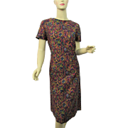 Vintage 1950s Print Day Career Dress