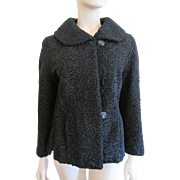 Black Lamb Wool Coat Vintage 1960s Curly Lambswool Capelet Stole Seidens Furs Kansas City