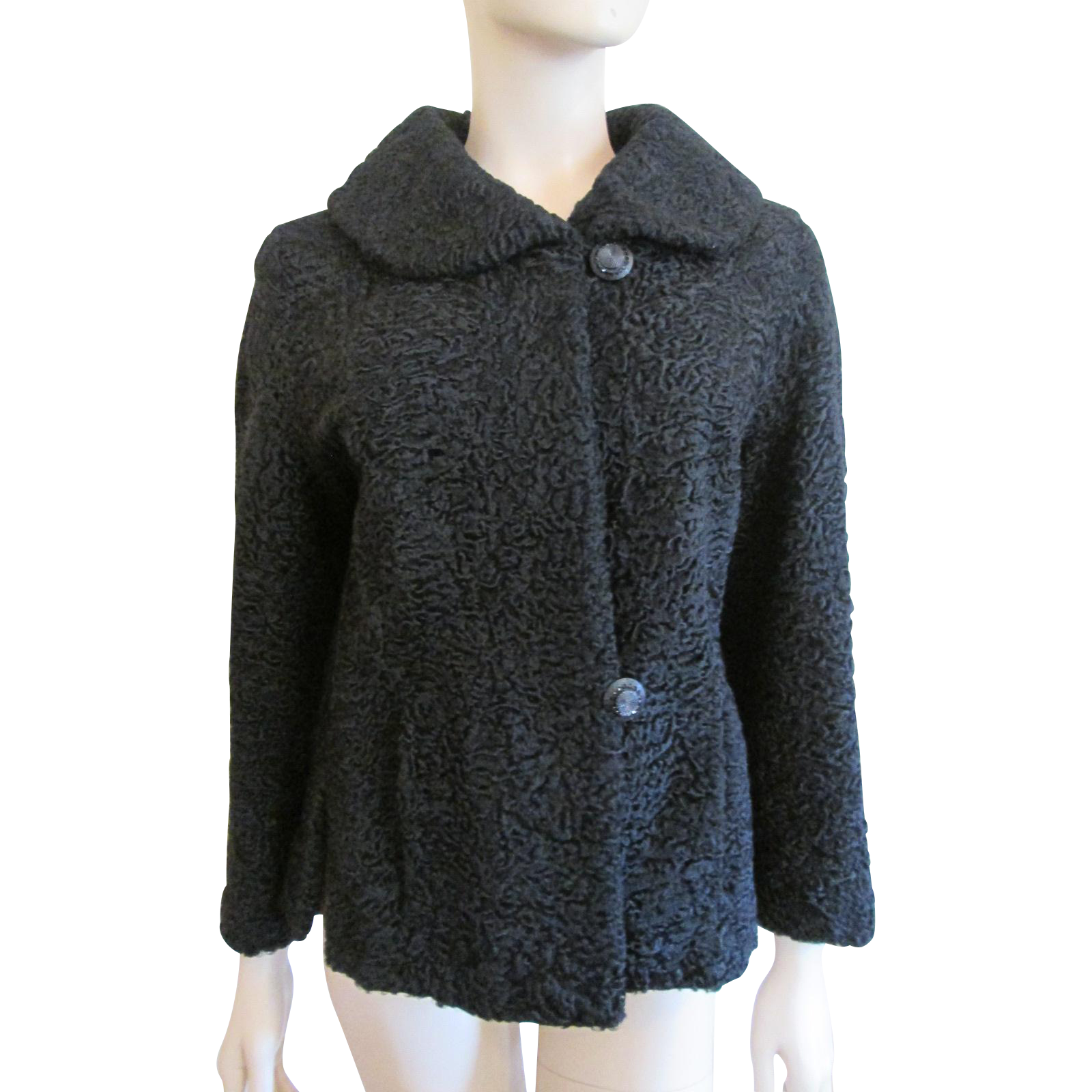 Black Lamb Wool Coat Vintage 1960s Curly Lambswool Capelet Stole ...