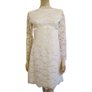 Mod White Lace Dress Vintage 1960s Wedding Party Womens Fashion