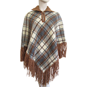 Plaid Poncho Fringe Vintage 1970's Wool Cape Fall Colors