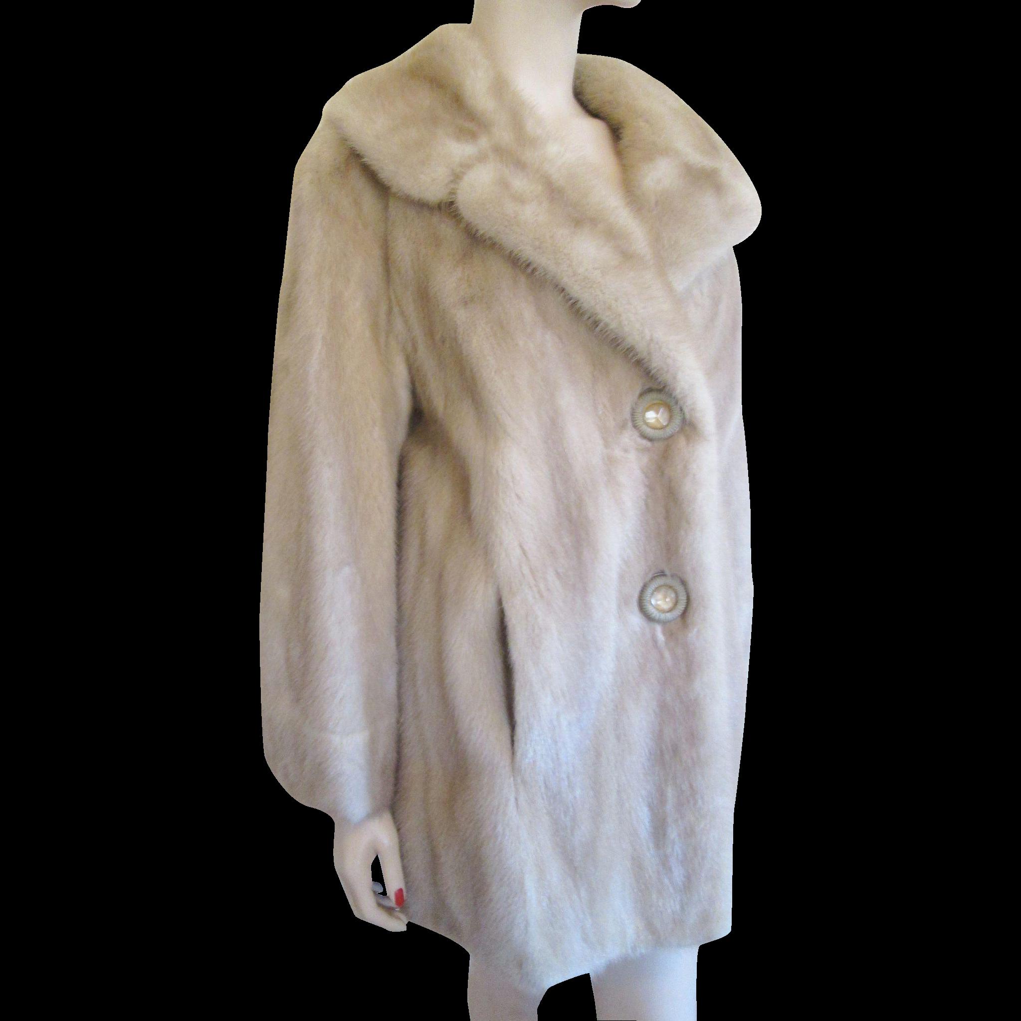 winter clearance  mink fur coat vintage 1950s champagne honey blonde from vanityflairvintage on